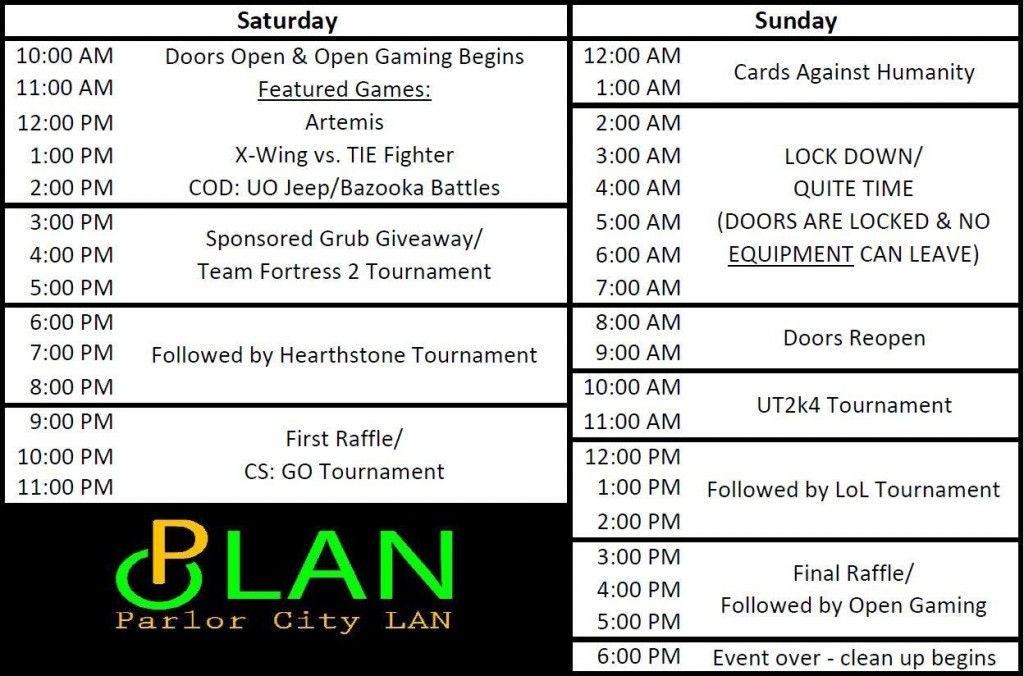 Parlor City LAN Schedule
